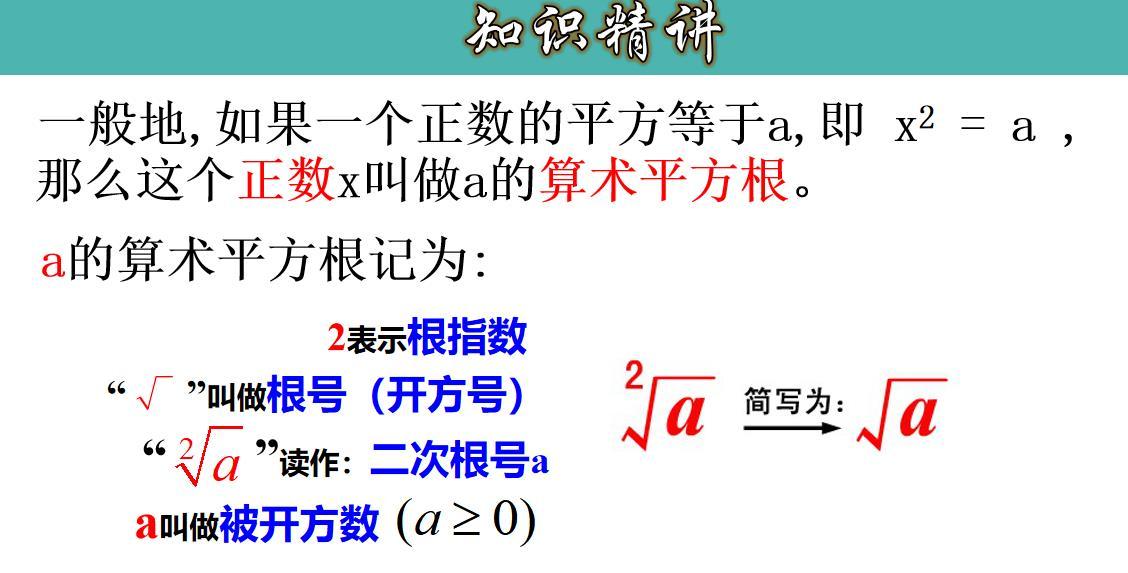6.1.1算术平方根-七年级数学下册人教版