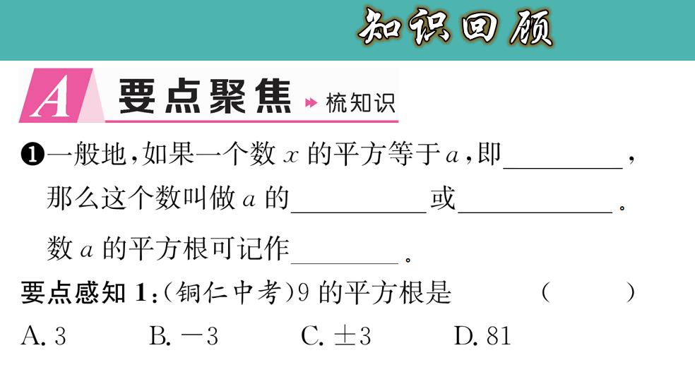 6.1.3 平方根综合题-七年级数学下册教材配套教学课件(人教版)
